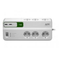 Prelungitor cu protectie APC SurgeArrest Essential PM6U-GR, 6 prize, 2 x USB, Alb