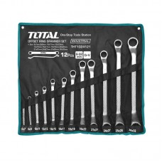Set 12 chei inelare cu cot Total Industrial, 6 - 32 mm, husa inclusa