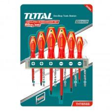 Set 6 surubelnite izolate pentru electricieni cu  maner ergonomic ,Total Industrial