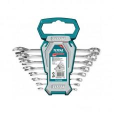 Set 8 chei combinate cu clichet Total Industrial, 8 - 19 mm